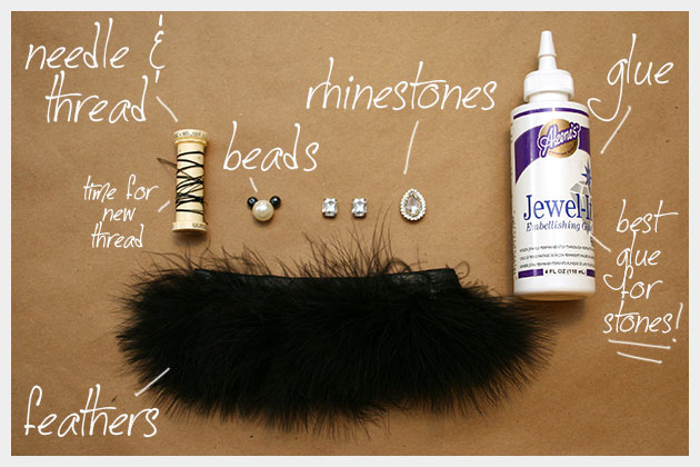 Feather and Rhinestone Pin DIY Supplies