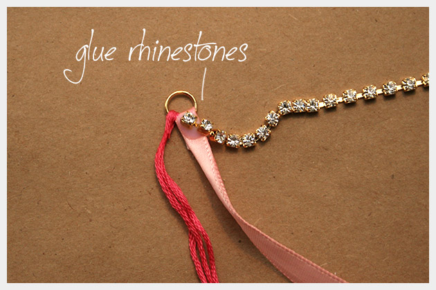 Rhinestone Braided Bracelet DIY Gluing