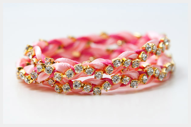 Rhinestone Braided Bracelet DIY Photo