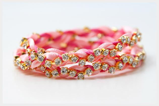 Rhinestone Braided Bracelet DIY Photo