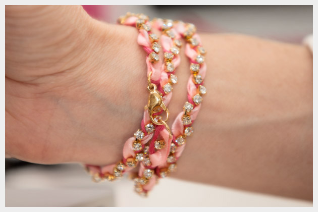 Rhinestone Braided Bracelet DIY Back