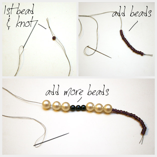 DIY Pom Pom Necklace Beading