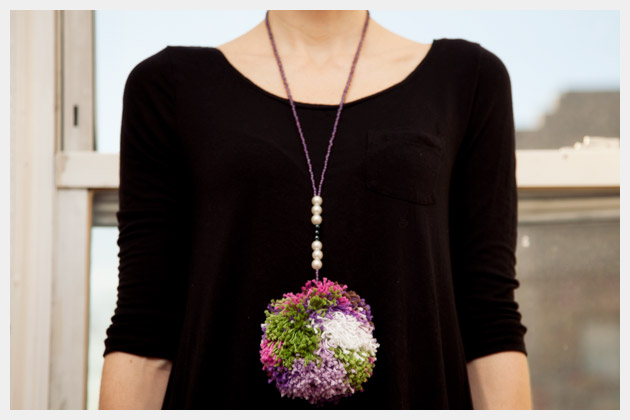 DIY Pom Pom Necklace Close Up