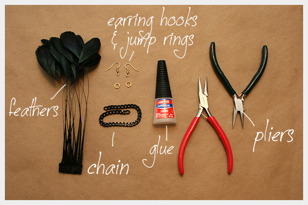 DIY Feather Earrings Supplies