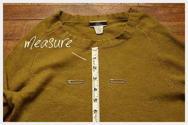 Safety Pin Heart Sweater DIY Measuring