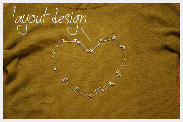 Safety Pin Heart Sweater DIY Layout