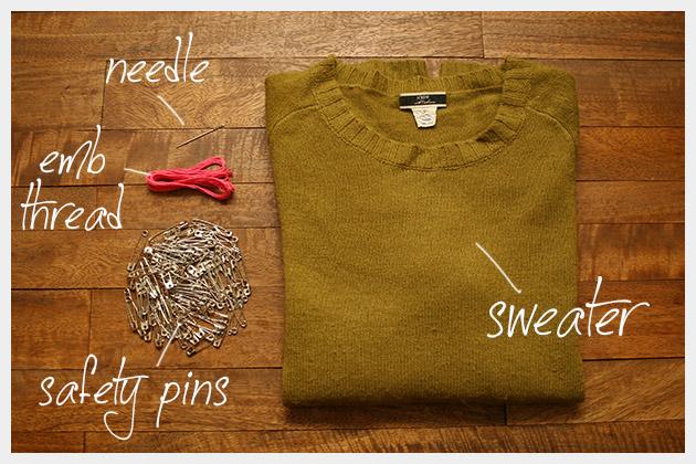 Safety Pin Heart Sweater DIY Supplies