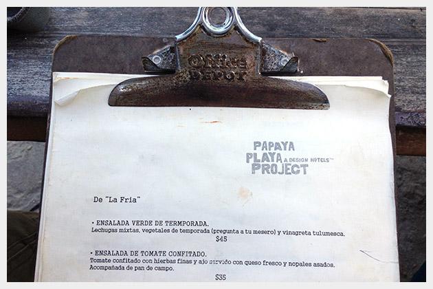 Papaya Playa Project Menu