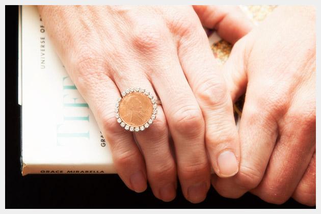 DIY Penny Ring Close Up