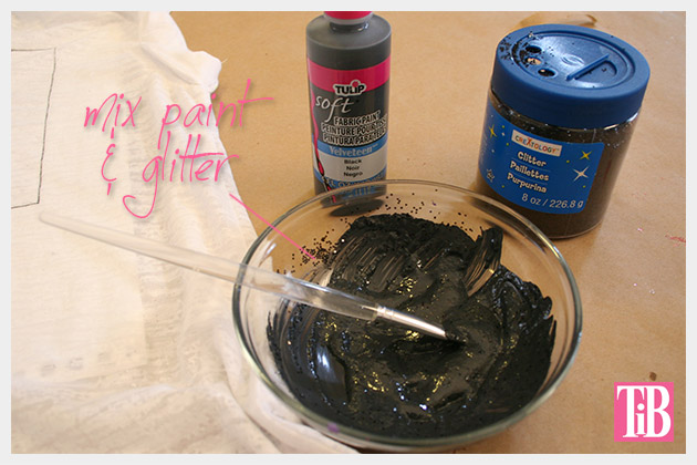 Striped Glitter T Shirt DIY Paint