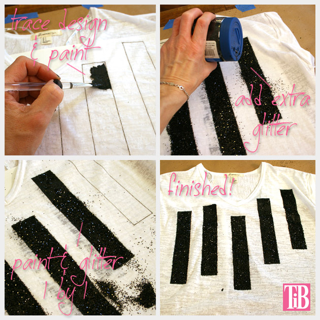 Striped Glitter T Shirt DIY Painting