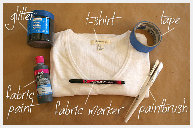 Striped Glitter T Shirt DIY Supplies