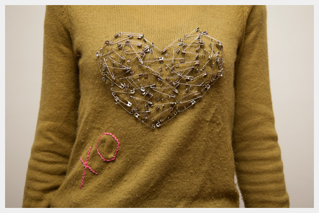 Valentine Heart Sweater DIY Close Up