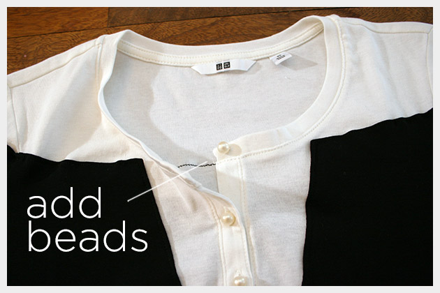 Mod Black and White T Shirt DIY Changing Buttons