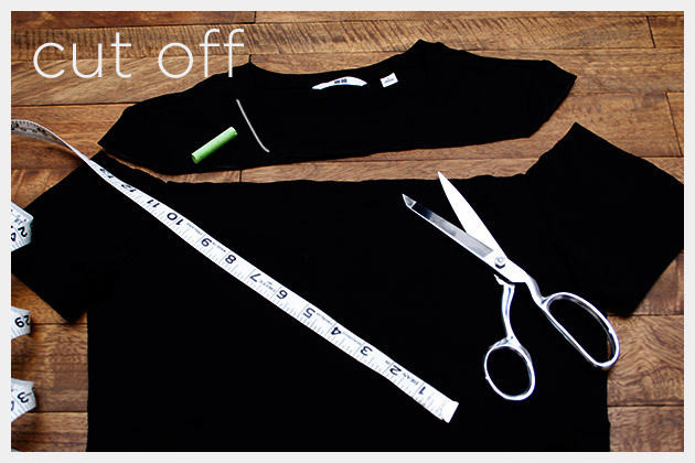 Mod Black and White T Shirt DIY Cut Off Neck