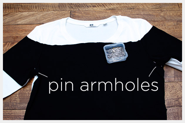 Mod Black and White T Shirt DIY Pinning Armholes