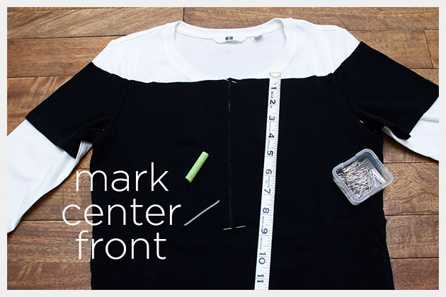 Mod Black and White T Shirt DIY Pinning and Measuring
