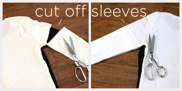 Mod black white t shirt diy for How to cut sleeves off a shirt