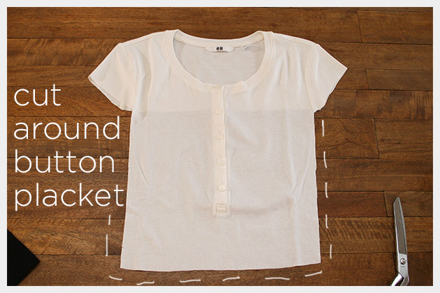 Mod Black and White T Shirt DIY Cutting Henley