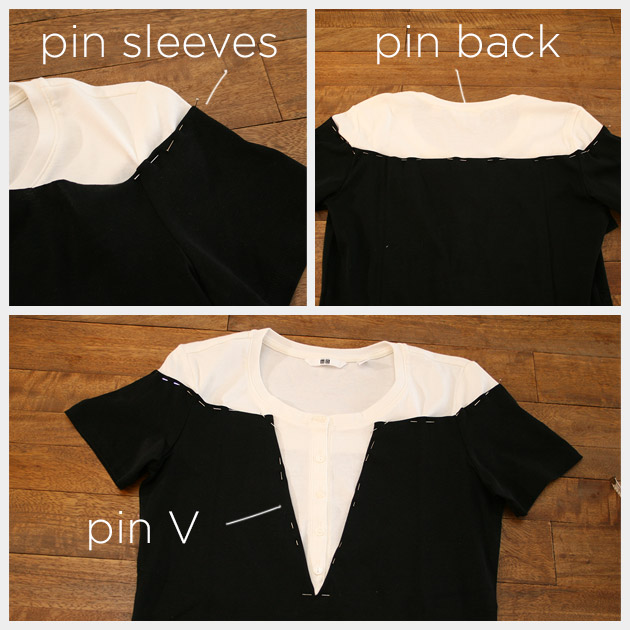 Mod Black and White T Shirt DIY Pinning