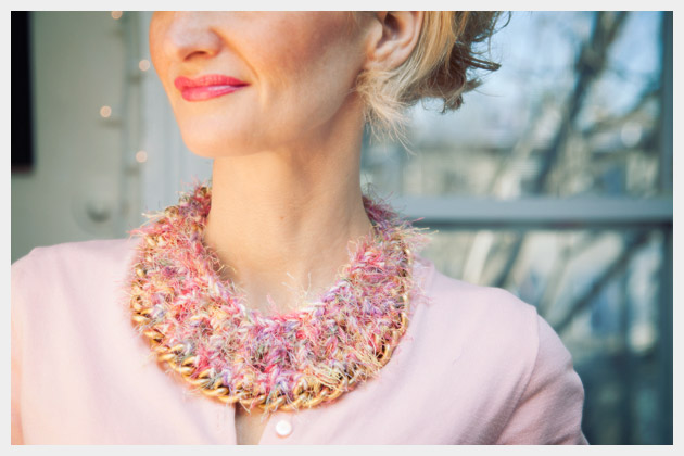 DIY Crochet Necklace Close Up
