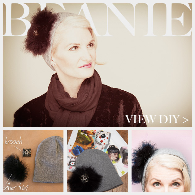 Feathered Jeweled Beanie DIY Feature