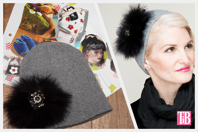 Feathered Jeweled Beanie DIY Inspiration