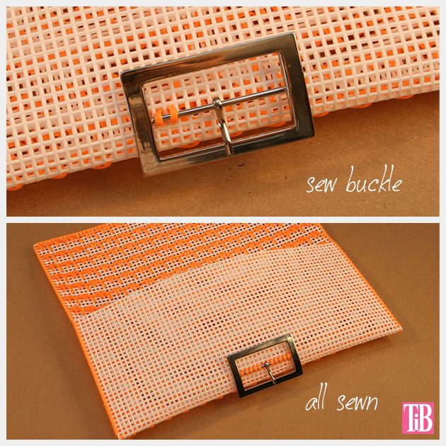 DIY Plastic Canvas Clutch Attaching Buckle