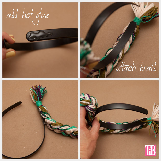 DIY Braided Headband Gluing