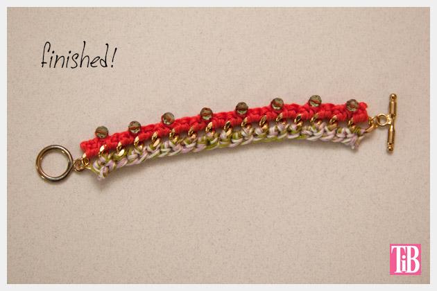 DIY Crochet Beaded Bracelet Finished