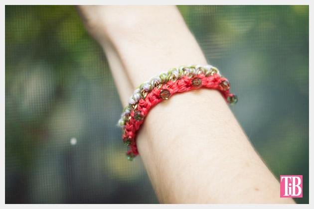 DIY Crochet Beaded Bracelet Close Up