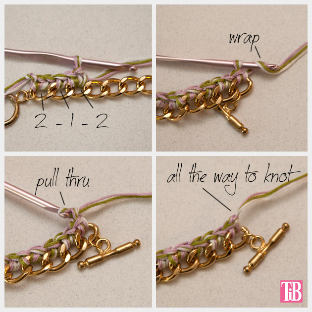 DIY Crochet Beaded Bracelet Crochet and End Knot