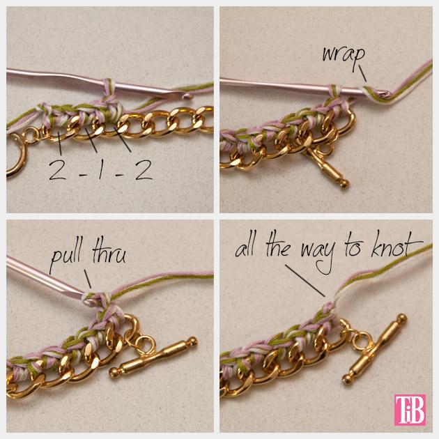 DIY Crochet Beaded Bracelet Crochet and End Knot