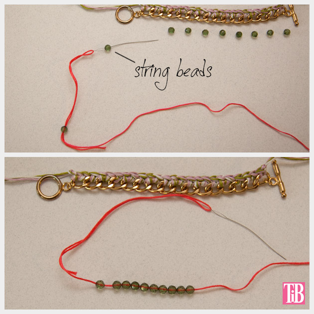 DIY Crochet Beaded Bracelet Stringing Beads