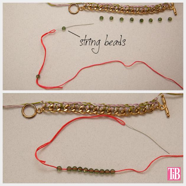 DIY Crochet Beaded Bracelet Stringing Beads
