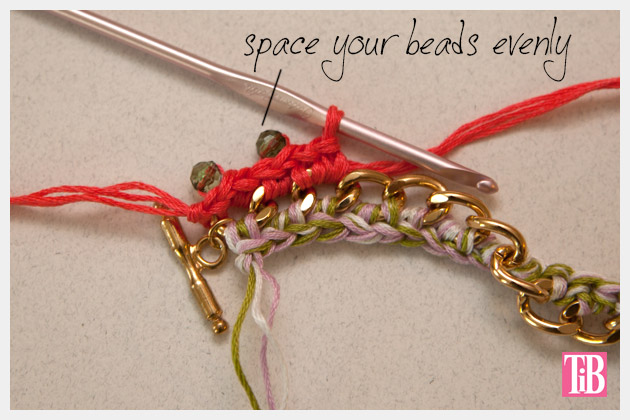 DIY Crochet Beaded Bracelet Spacing Beads