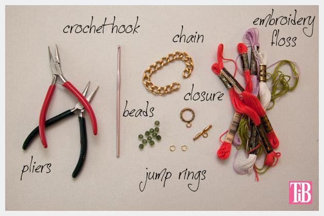 DIY Crochet Beaded Bracelet Supplies