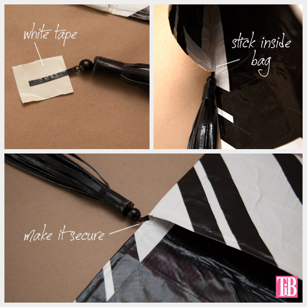 DIY Duct Tape Clutch Adding Tassel