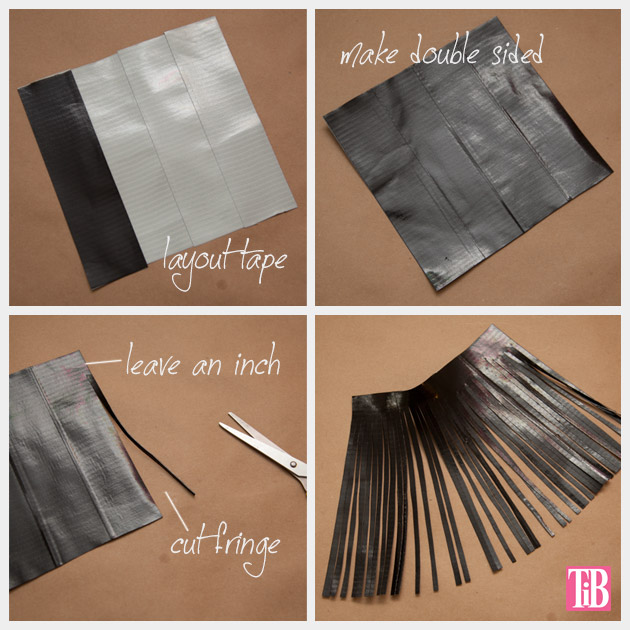 DIY Duct Tape Clutch Cutting Tassel Fringe