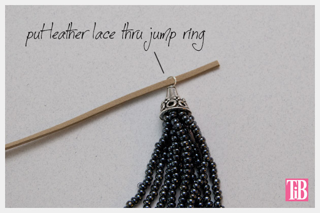 DIY Tassel Necklace Attaching to Necklace