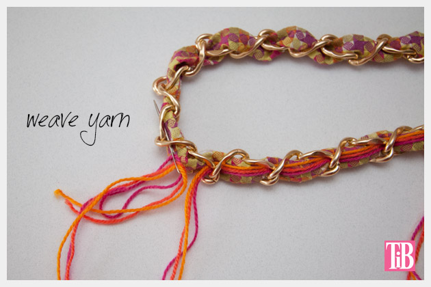 DIY Woven Chain Necklace Weave Yarn