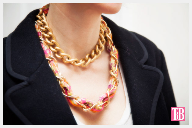 DIY Woven Chain Necklace Close Up