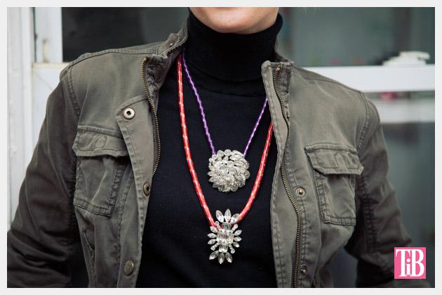 DIY Rhinestone Cord Necklace Close Up