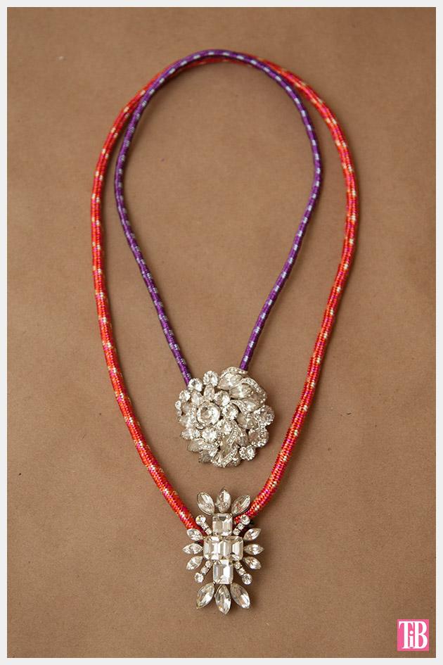 DIY Rhinestone Cord Necklace Finished 1