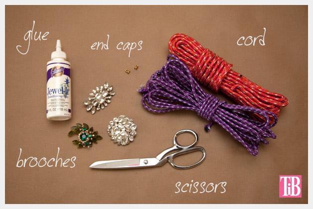 DIY Rhinestone Cord Necklace Supplies