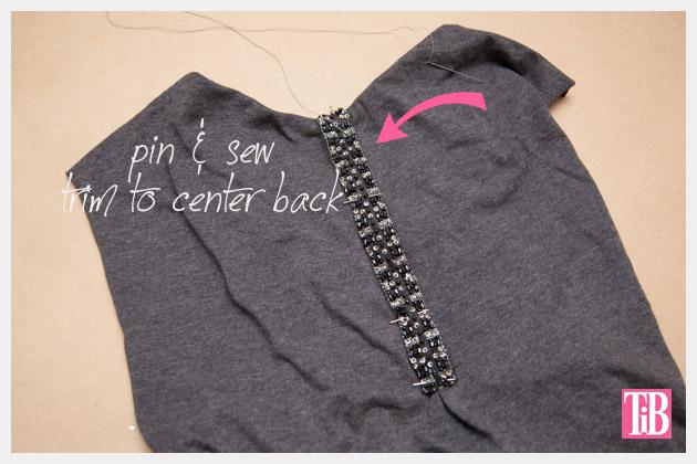 DIY Studded T Shirt Back Trim