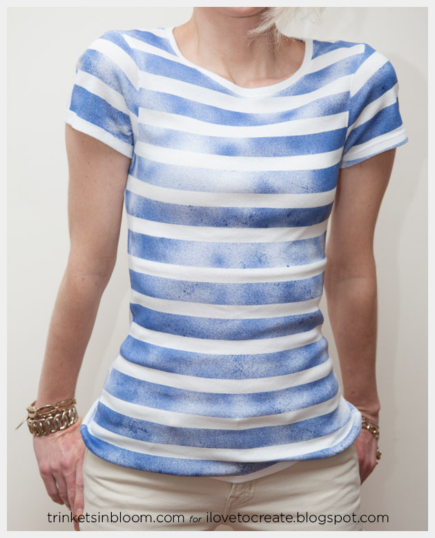 DIY Striped T-Shirt with Spray Paint Close Up