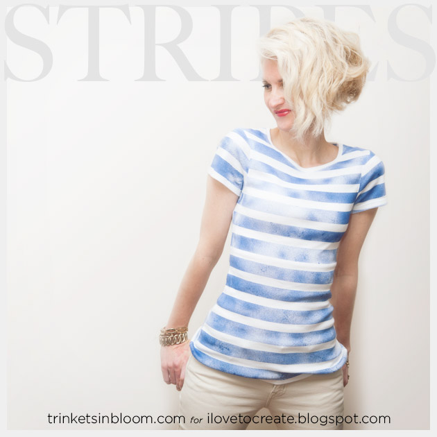 DIY Striped T-Shirt with Spray Paint Feature www.trinketsinbloom.com