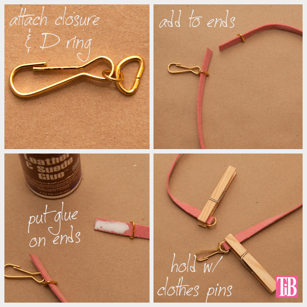 DIY Studded Bracelets Gluing the Ends