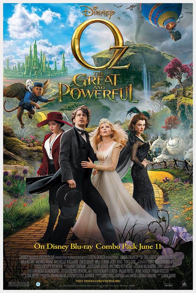 Disney OZ the Great and Powerful Movie poster Blu-Ray combo pack release.